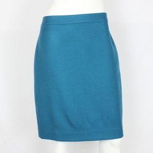 J.Crew No 2 Pencil Skirt Double Serge Wool Teal